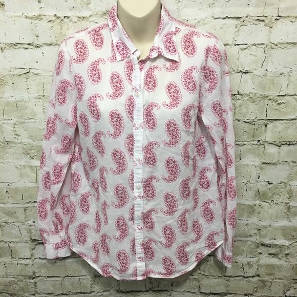 32922259 LOFT Tops | White Pink Paisley Button Down Shirt D5 | Poshmark